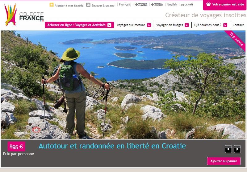 Le site d'Objectif France dédié aux voyages sur-mesure en France et en Europe de l'Ouest - Capture écran