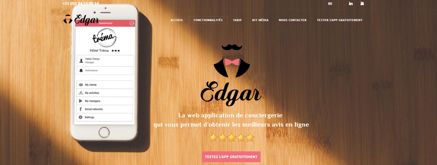 Edgar est une application de conciergerie, qui permet d'obtenir les meilleurs avis en ligne en assurant la gestion en temps réel de la relation client - Edgar