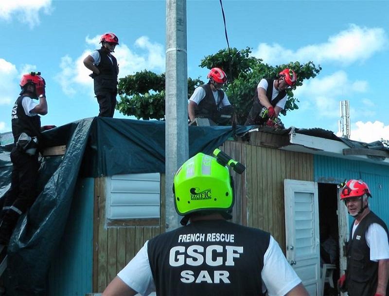 Les pompiers du GSCF lors de leur 3e mission à Saint Martin, après le passage de l'ouragan Irma - DR : Page Facebook GSCF