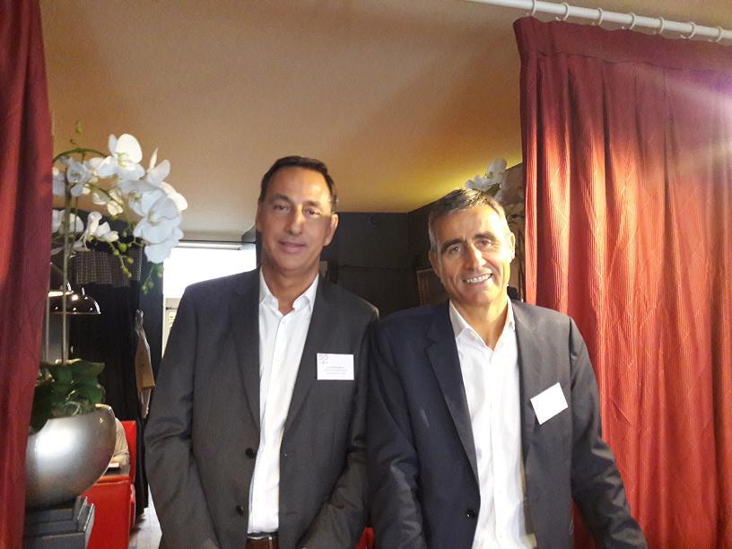Lors de leur conférence de presse, Pierre Mattéi, président de Corsica Ferries (à droite) et Jean-Michel Savelli, directeur des Systèmes d'Information - DR : M.S.