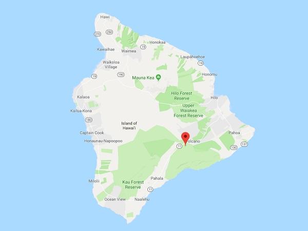 Le volcan Kilauea est situé sur l'île de Big Island à Hawaii - DR Google Map