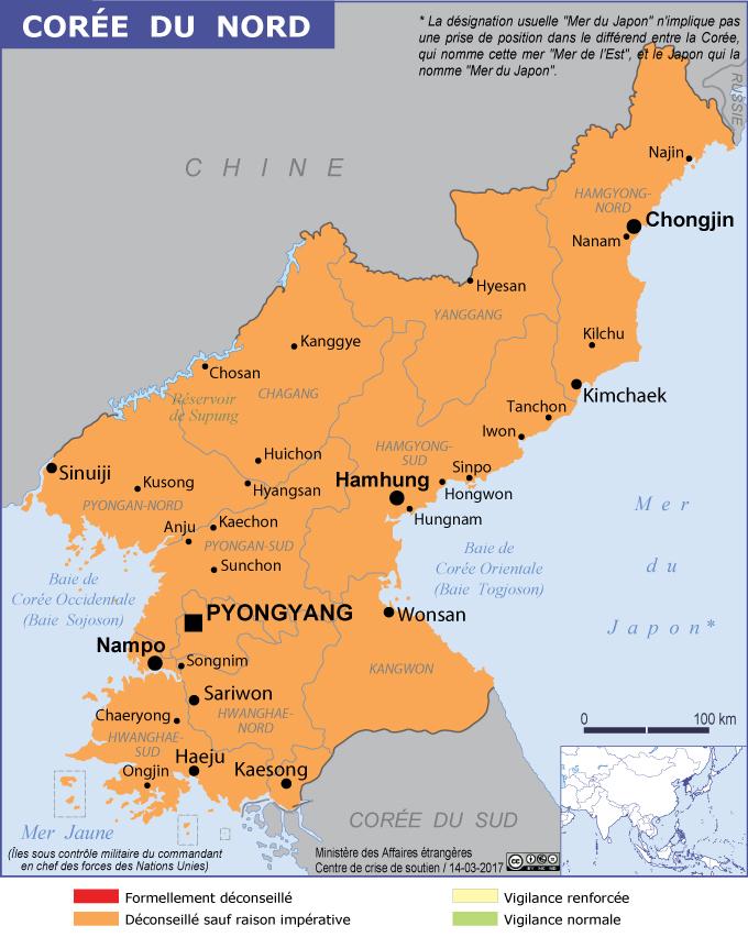La carte du ministère des affaires étrangères place la Corée du Nord en orange
