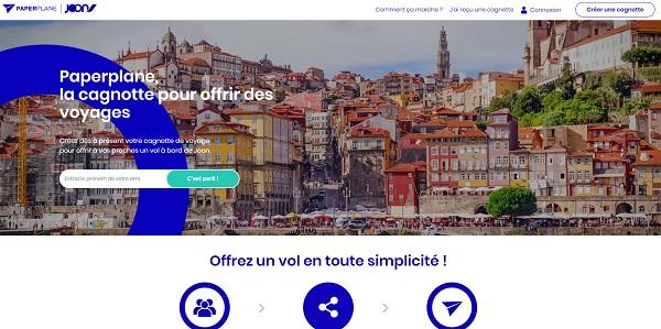 Paperplane, où le cadeau participatif par Joon - Crédit photo : capture écran du site Joon.fr