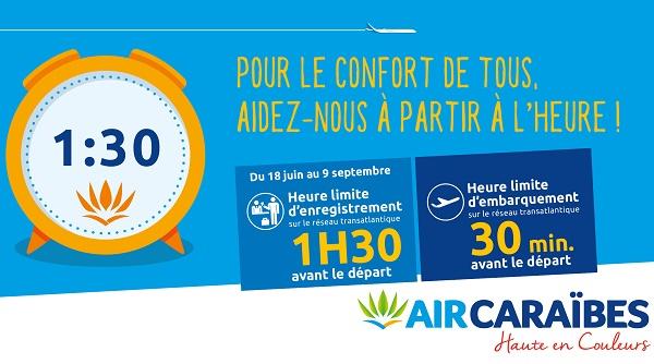 Air Caraïbes a modifié l'heure d'enregistrement de ses vols transatlantiques cet été - DR Air Caraïbes