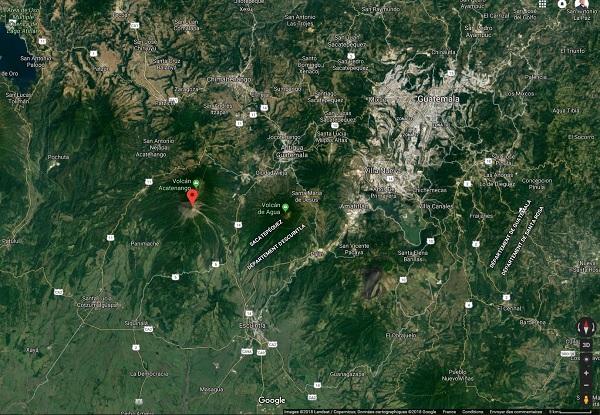 Le volcan Fuego se calme, l'aéroport international va réouvrir ce lundi matin - Crédit photo : Google Maps