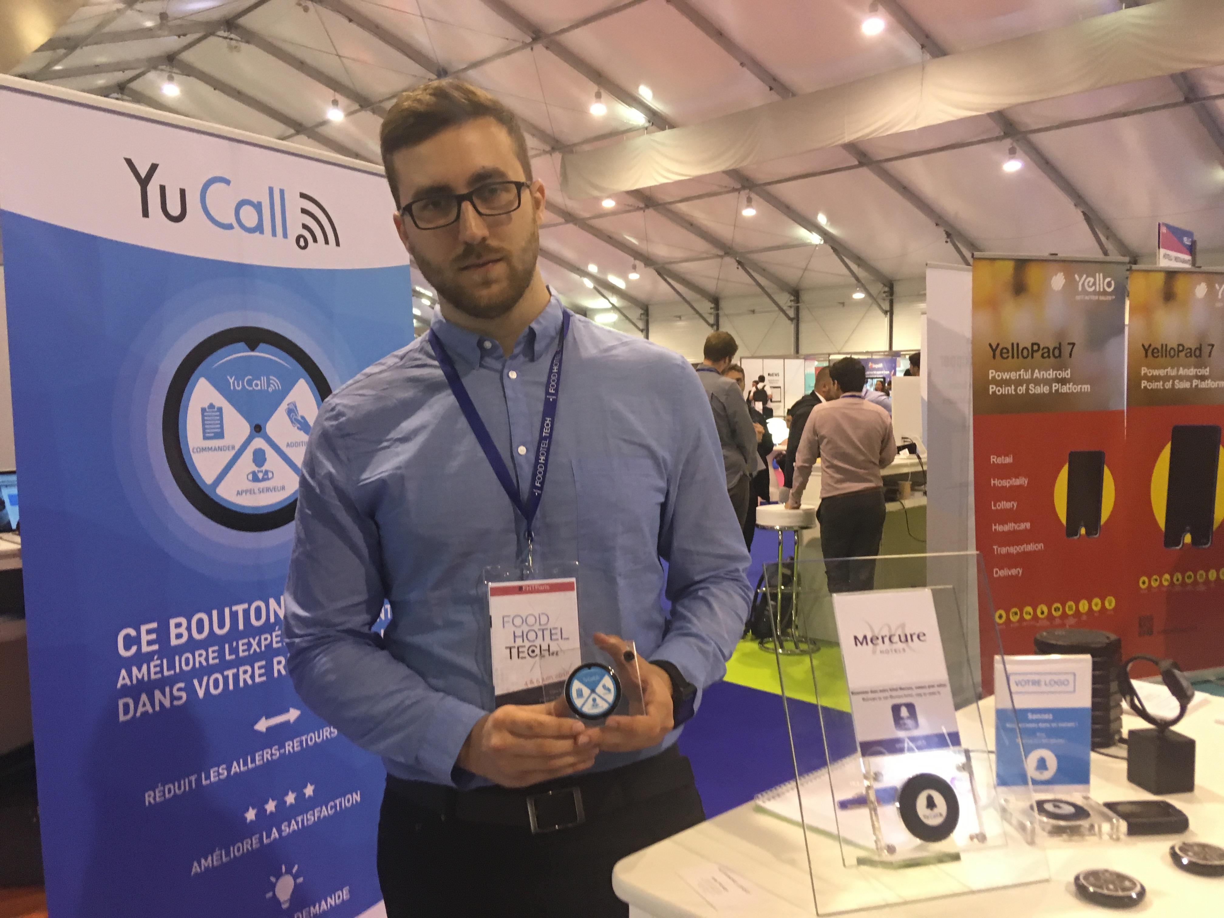 Adrien Joseph, responsable commercial du secteur de l'hôtellerie a présenté la solution Yu Call au Food Hotel Tech. - CL