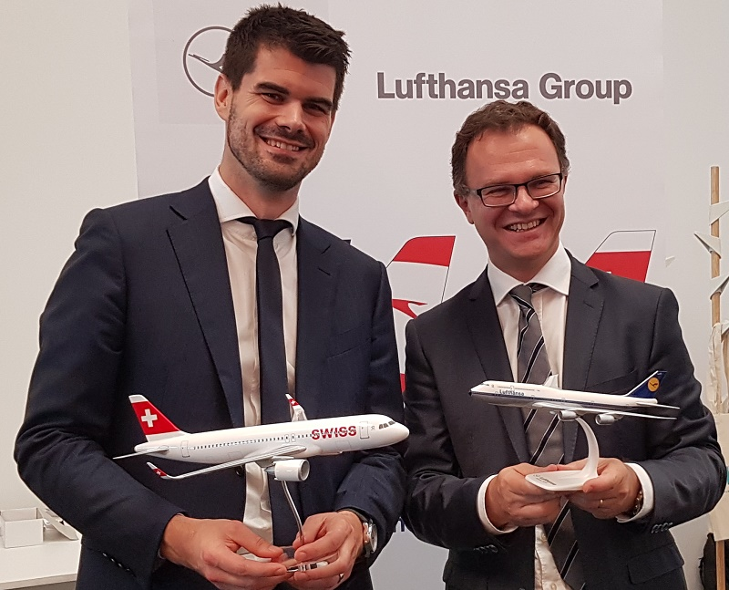 Michael Gloor, directeur des ventes senior de Lufthansa Group pour la France, le Luxembourg et les Pays-Bas et Julien Boullay, directeur commercial, marketing et communication de l'aéroport de Marseille Provence le 7 juin 2018 à Marseille - DR : A.B.