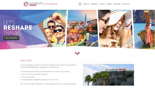 hotelsbeds Group étend ses services, en s'associant à City Expert - Capture écran du site group.hotelbeds.com