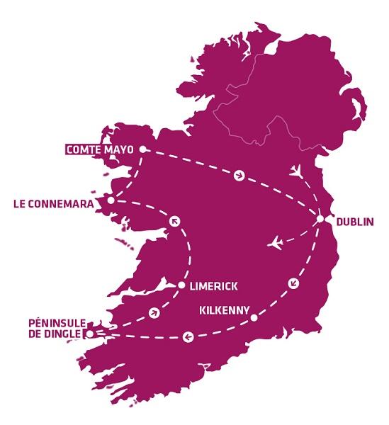 """L'itinéraire du nouveau circuit """"Ma douce Irlande"""" /crédit photo JDL"""