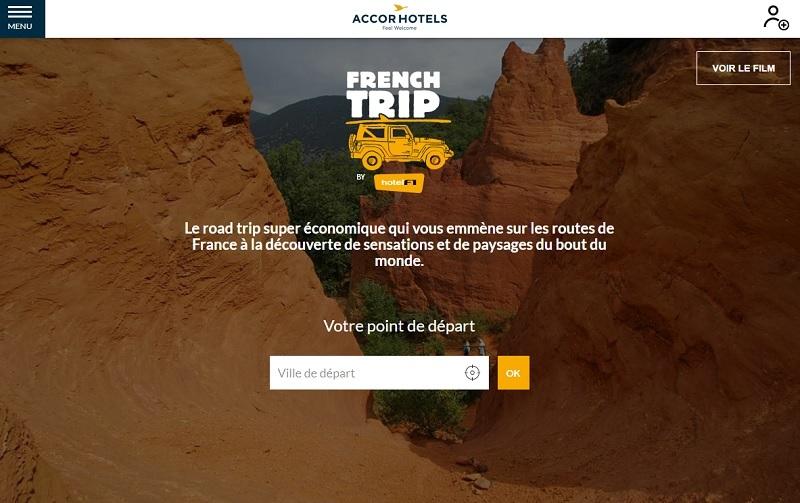 La plateforme French Trip de hotelF1 - Capture écran