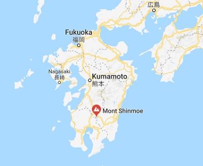 Le volcan Shinmoe, situé sur l'île de Kyushu, est entré en éruption le 22 juin 2018 à 09h09, heure locale - DR
