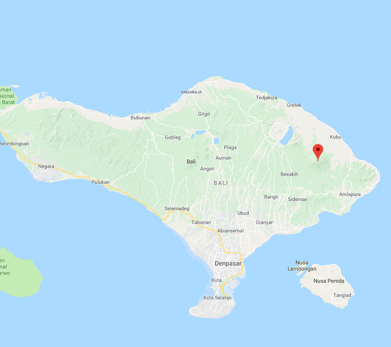 Le volcan Mont Agung a connu une nouvelle éruption le 28 juin 2018 - DR Google Map