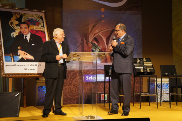 Philippe Demonchy président fondateur de Selectouir et Jean-Pierre Mas président Afat lors du congrès Selectour-Afat 3013 organisé p Mazagan au Maroc. Photo CE.