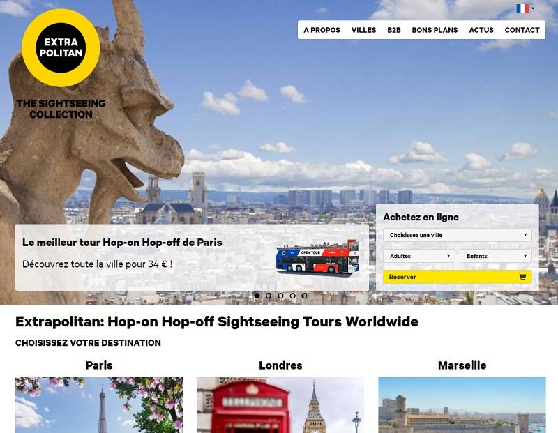 Créée en 2015, Extrapolitan est une alliance d'opérateurs de tours Hop-on Hop-off implantés dans 19 villes à travers le monde - Capture écran