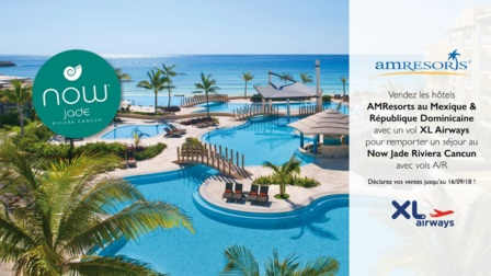 Pour chaque vente d'un séjour combinant des vols XL Airways et l'hébergement dans un établissement AMResorts au Mexique ou en République dominicaine, l'agent de voyages accumulera 10 points par client - DR