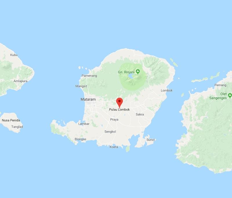 Dimanche 19 août 2018, l'île de Lombok a été touché par 3 tremblements de terre. - Google Maps