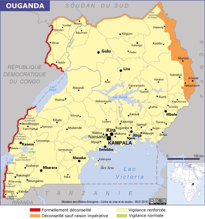 Ouganda : la carte du Quai d'Orsay - DR