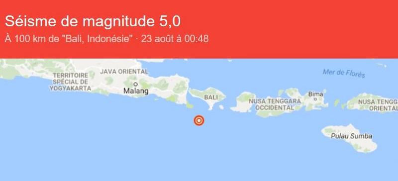 un séisme de magnitude 5 a frappé l'Indonésie - photo google via U.S. Geological Survey