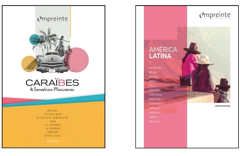 """Les nouvelles brochures """"Caraïbes & Sensations Mexicaines"""" et """"América Latina"""" 2018-2019 d'Empreinte sont en cours de distribution auprès des agences de voyages - DR : Empreinte"""
