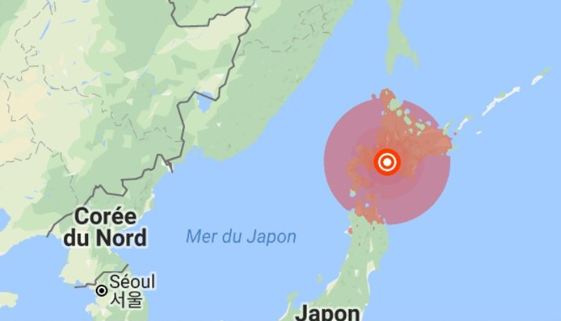 un violent séisme a frappé l'île d'Hokkaido cette nui - photo google
