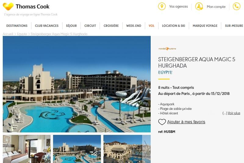 Thomas Cook a décidé de suspendre les ventes de l'hôtel Steigenberger Aqua Magic jusqu'à nouvel ordre - Capture d'écran ThomasCook.fr
