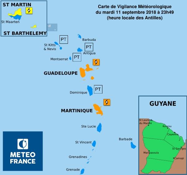 La tempête tropicale va frapper les îles françaises dans la nuit de mercredi à jeudi - Crédit photo : Météo France