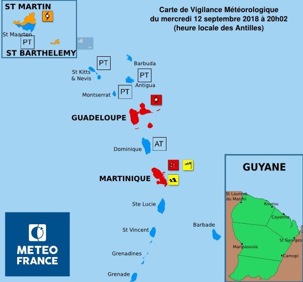Guadeloupe et Martinique en vigilance rouge, indique Météo France