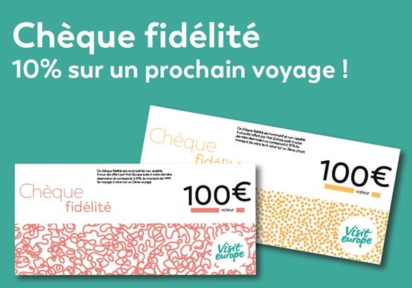 Visit Europe offre à vos clients un bon d'achat de 10% du montant de leur 1er voyage à valoir sur un 2ème voyage - DR