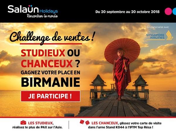 Challenge de ventes Asie : A gagner, 14 places pour le prochain éductour qui se tiendra en Birmanie du 29 novembre au 7 décembre 2018 - DR