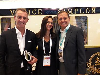 Yann Guezennec directeur des ventes & marketing Trains et Croisières, Celine Doyle directrice des ventes France, Belgique, Suisse, et Adam Morris.MS;