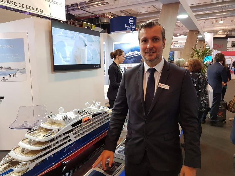 Hervé Bellaiche sur le stand de Ponant dans le cadre de l'IFTM Top Resa - DR Photo CE