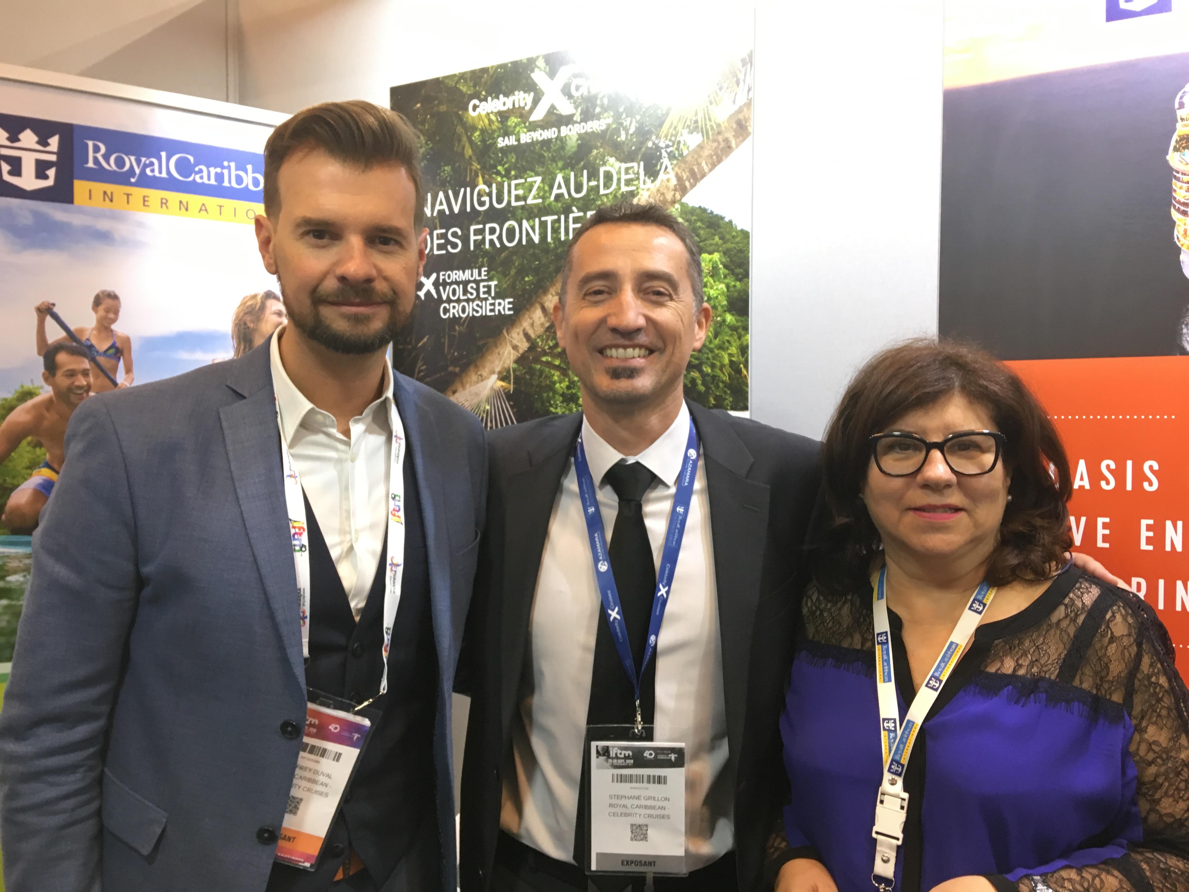 Une partie de l'équipe France à l'IFTM Top Resa : Geoffrey Duval, responsable grands comptes France ; Stéphane Grillon, directeur des ventes et Robiha Deloubrière, directrice commerciale grands comptes - DR : C.L.