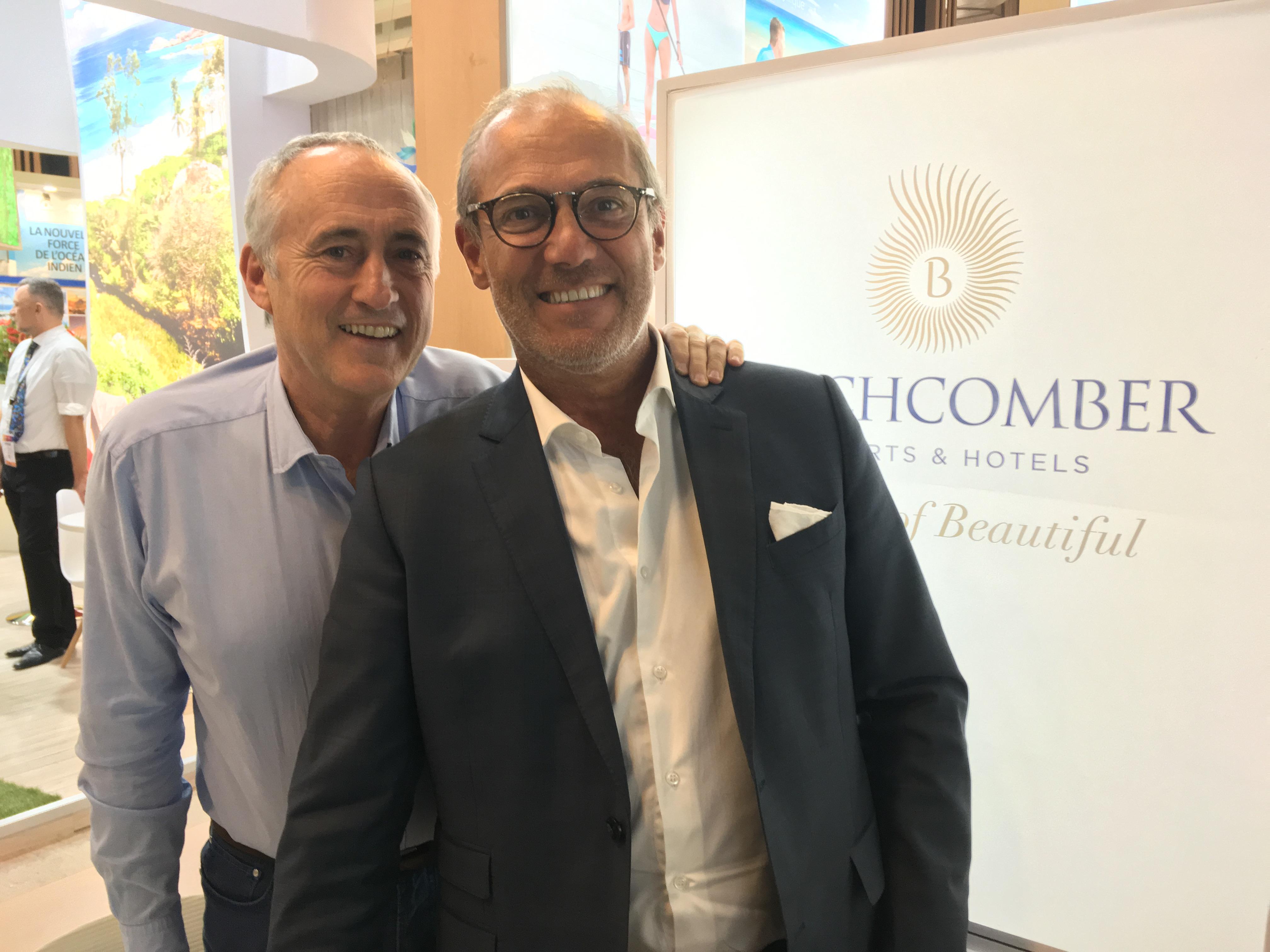 François Venin, directeur commercial et marketing et Rémi Sabarros, directeur de Beachcomber France, Belgique et Luxemourg sur leur stand à l'édition 2018 de l'IFTM Top Resa. - CL