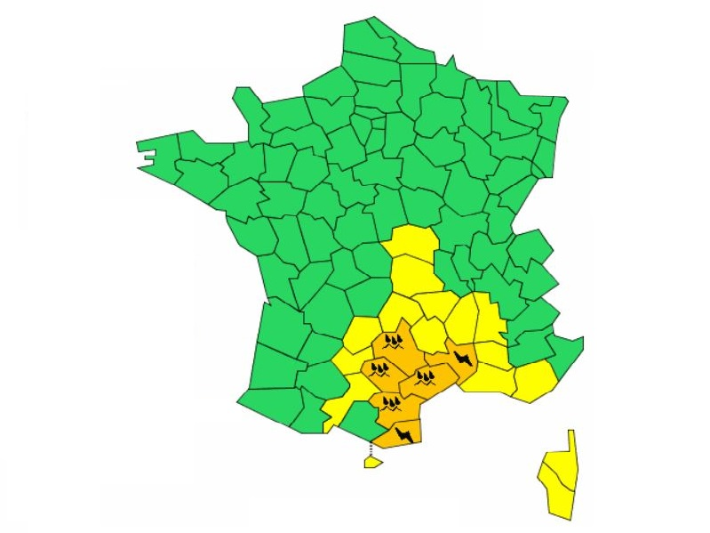 Carte météo France valable à partir du mardi 9 octobre 2018 16h durant 24h