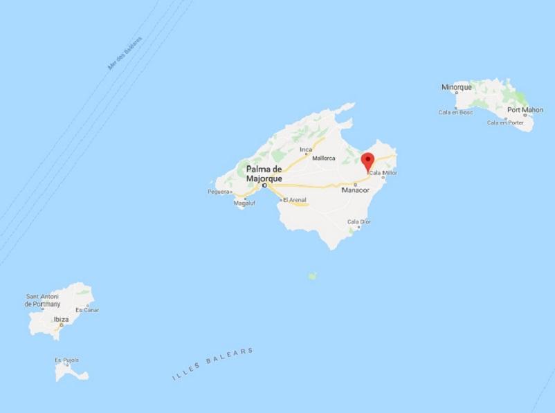 A majorque, Sant Llorenç a été touchée par d'importantes innondations - google maps