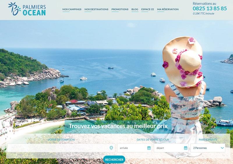 Le site web de Palmiers Océan, TO spécialiste des vacances en mobile home - Capture écran