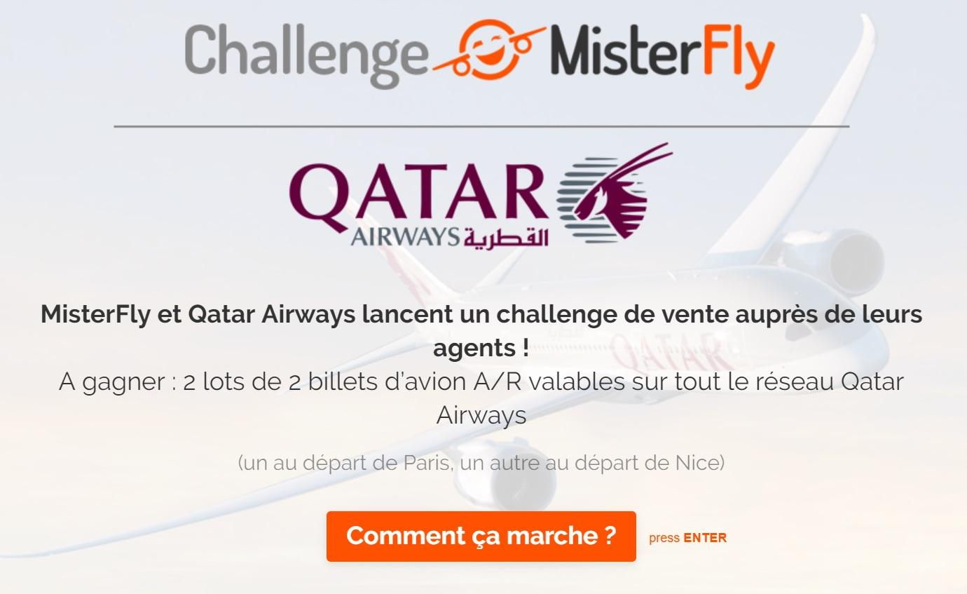 Pour participer au challenge de ventes Qatar Airways et MisterFly il faut se connecter au site https://misterfly.typeform.com/to/PzEHUM - DR