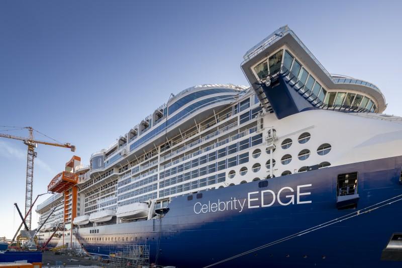 Le Celebrity Edge lors de la livraison par les Chantiers de l'Atlantique - DR Celebrity Cruises
