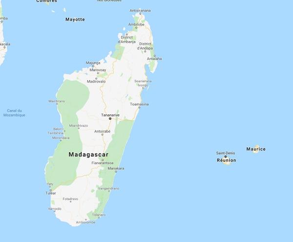 Les élections présidentielles auront lieu le 7 novembre 2018 à Madagascar - DR Google map