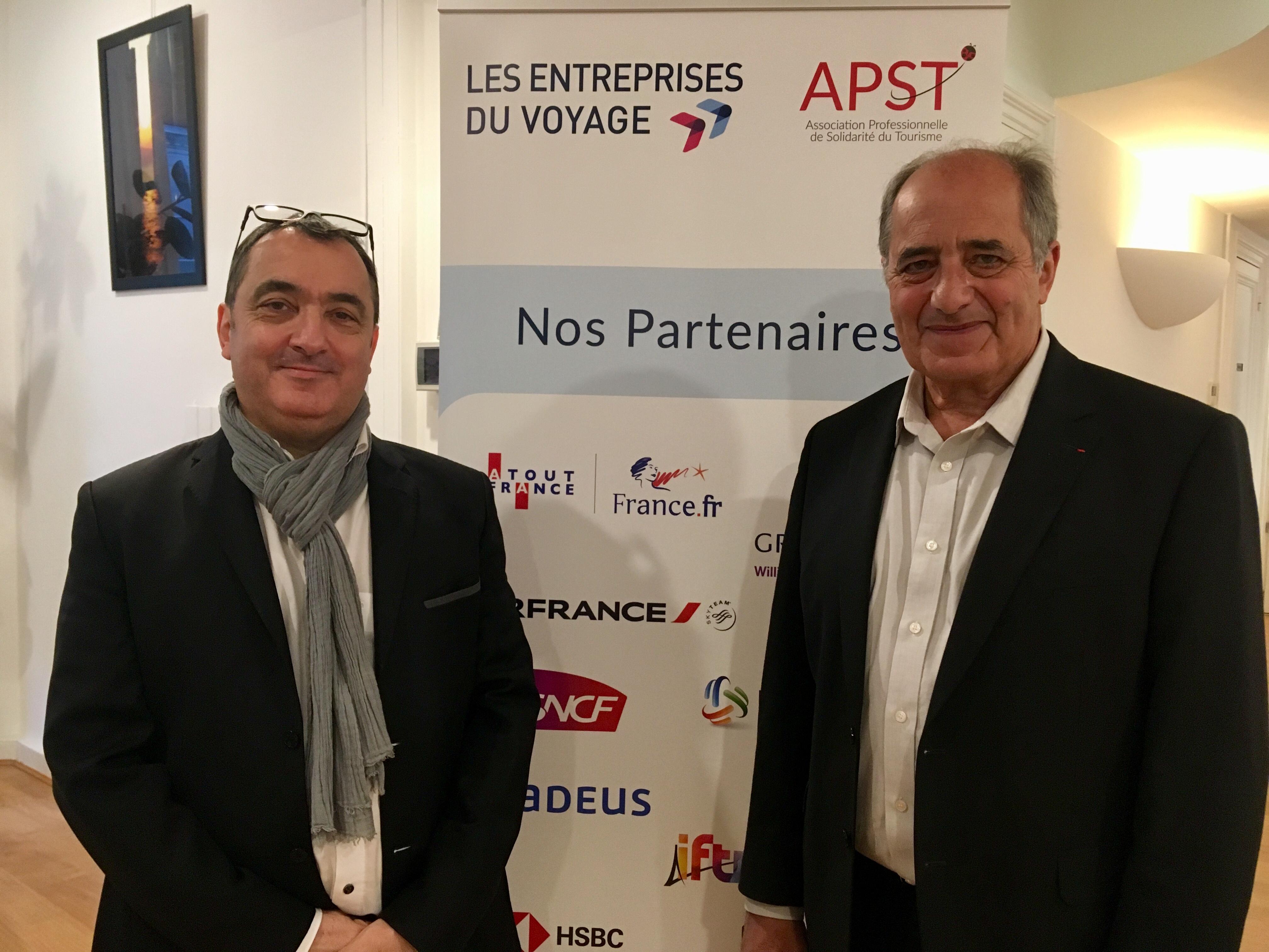 Emmanuel Toromanof, secrétaire général et Jean-Pierre Mas, président des Entreprises du Voyages. - CL