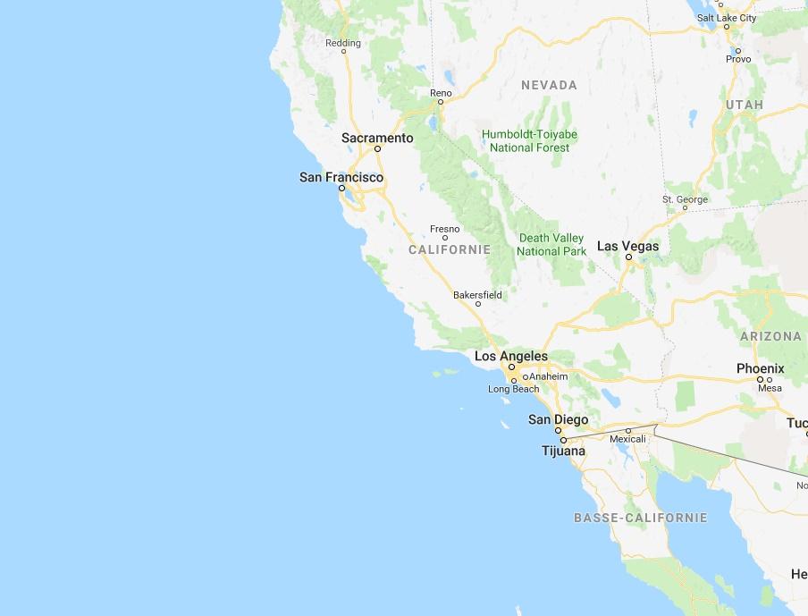 Plusieurs localités ont été évacuées en raison des incendies qui frappent la Californie - DR Google Map