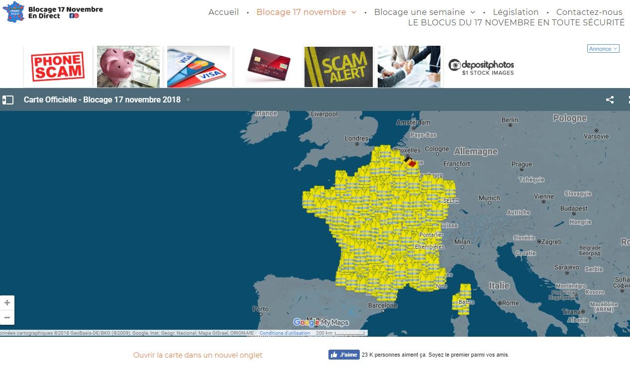 Blocage17novembre.com recense les lieux qui seront ciblés par les blocages - DR