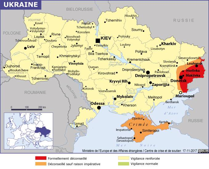 La carte de l'Ukraine publiée sur le site du Quai d'Orsay - DR MEAE