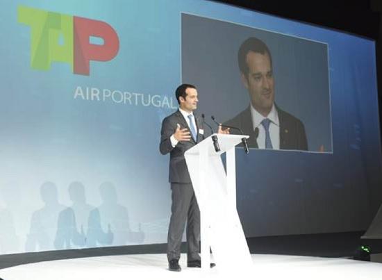 Antonoaldo Neves, PDG de TAP Air Portugal lors de la réception du nouvel appareil - DR TAP