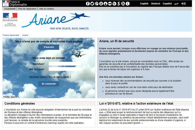 Ariane propose aux voyageurs partant à l'étranger de s'inscrire en ligne afin de recevoir les informations relatives à la sécurité de leur déplacement - Capture écran