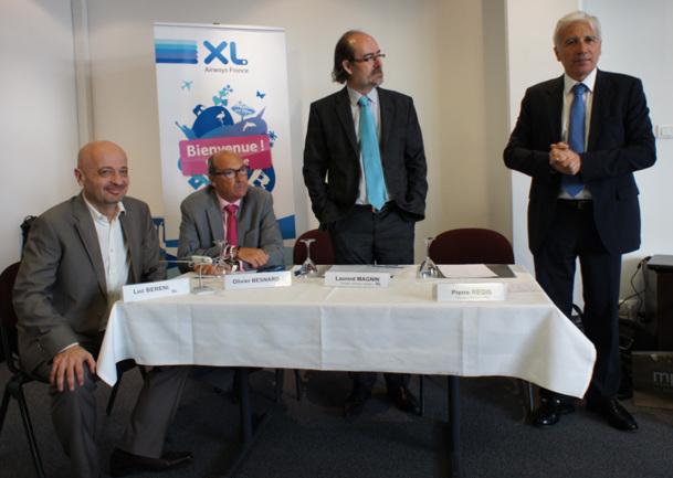 Luc Bereni (ici à gauche) aux côtés d'Olivier Besnard et de Laurent Magnin d'XL Airways © CE TM