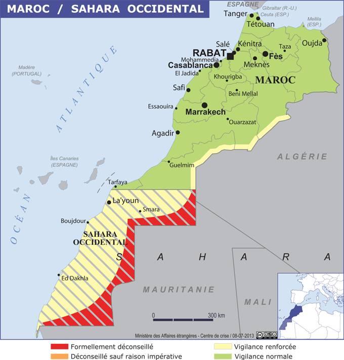La carte publiée par le MEAE - DR .diplomatie.gouv.fr