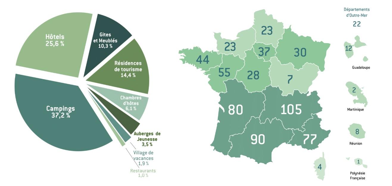 """La répartition des établissements labellisés """"Clé Verte"""" - Crédit photo : Clé Verte"""