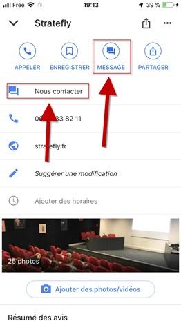Intégration de la fonctionnalité de chat dans une fiche Google My Business - DR