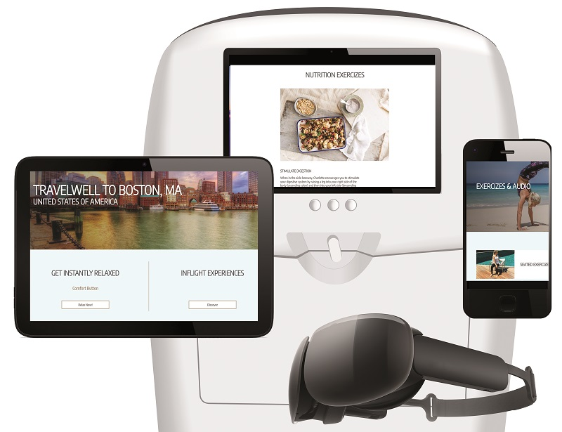 Travelwell est une boite à outils intégrée dans les écrans des sièges des avions. Elle permet d'améliorer le bien-être, avant, pendant et après le vol en proposant différents programmes de relaxation, de méditation, de respiration, de nutrition... - DR : PXCom